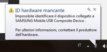 La maschera di errore può variare a seconda del sistema operativo